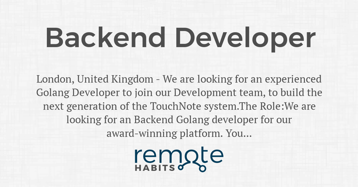 Backend Developer — Remote Habits