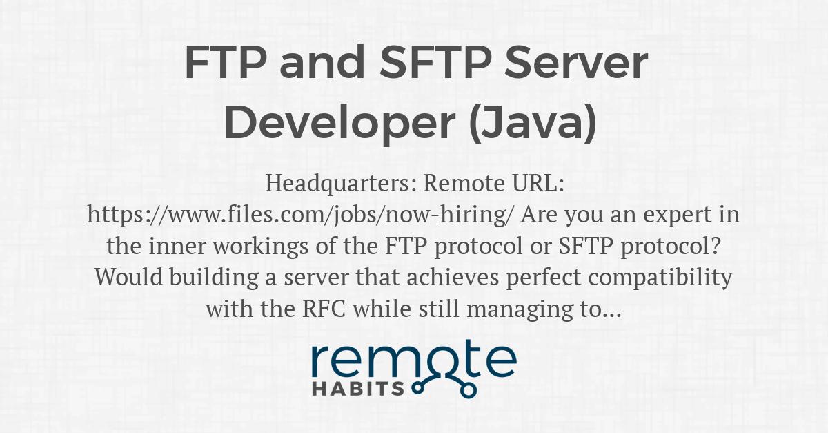 FTP and SFTP Server Developer (Java) — Remote Habits