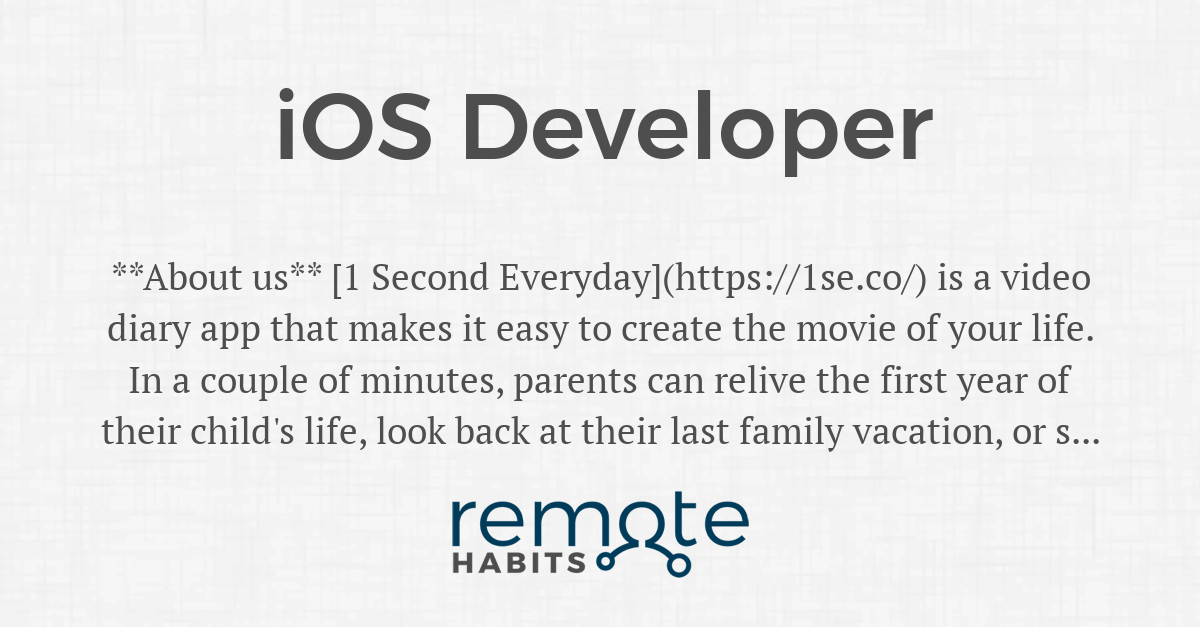 iOS Developer — Remote Habits
